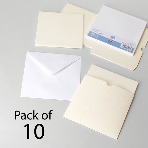 Cream Hammer Square Pocket Invitation Set (Pack of 10)