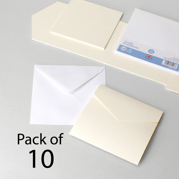 Cream Hammer Square Wallet Invitation Set (Pack of 10)