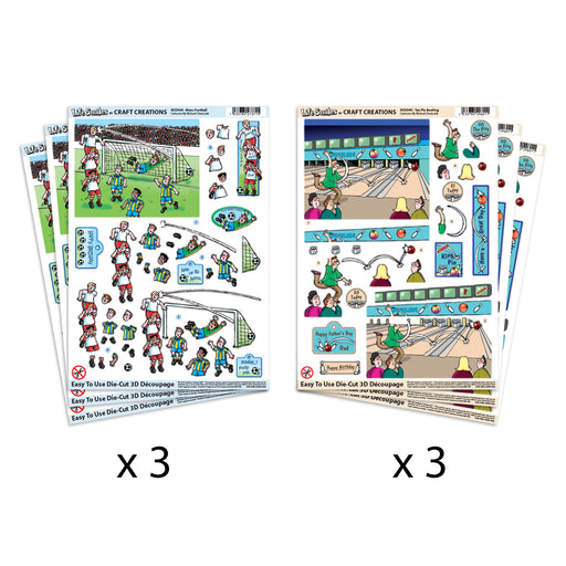 Die Cut  Decoupage Men's Football & Ten Pin Bowling (Pack of 6)