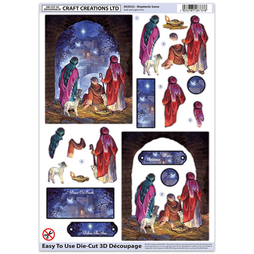 Die Cut Decoupage - Shepherds Scene (Pack of 6)