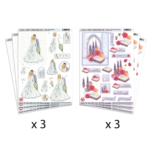 Die Cut  Decoupage White Wedding & Communion  (Pack of 6)