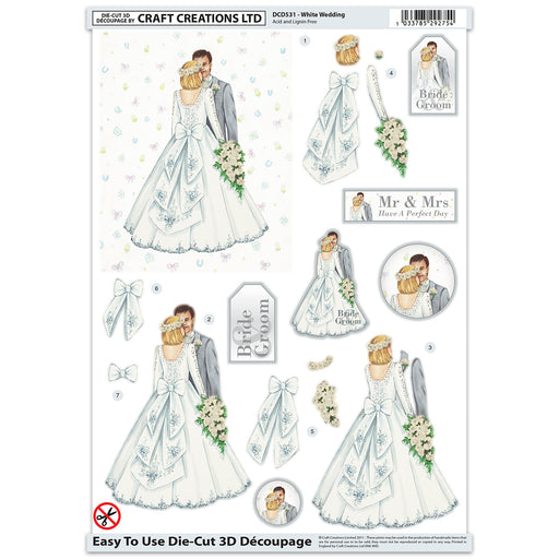 Die Cut Decoupage - White Wedding (Pack of 6)