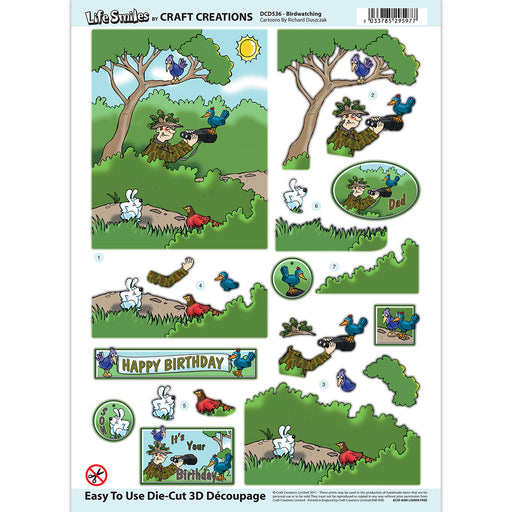 Die Cut Decoupage - Birdwatching (Pack of 6)