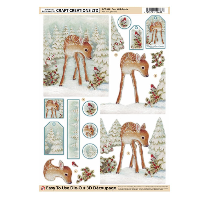 Die Cut Decoupage - Deer With Robin (Pack of 3)