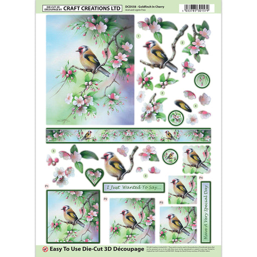 Die Cut Decoupage - Goldfinch in Cherry (Pack of 6)