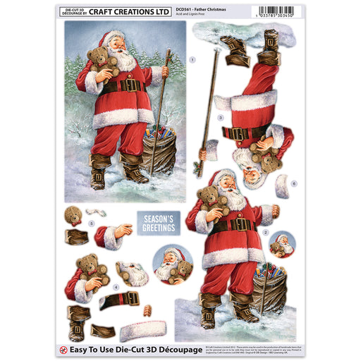 Die Cut Decoupage - Father Christmas (Pack of 3)