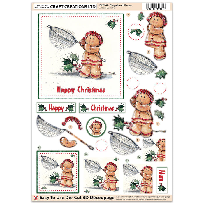 Die Cut Decoupage - Gingerbread Woman (Pack of 3)