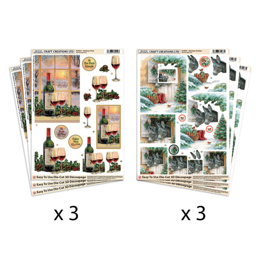 Die Cut Decoupage Festive Donkeys & Wine Pack of 6
