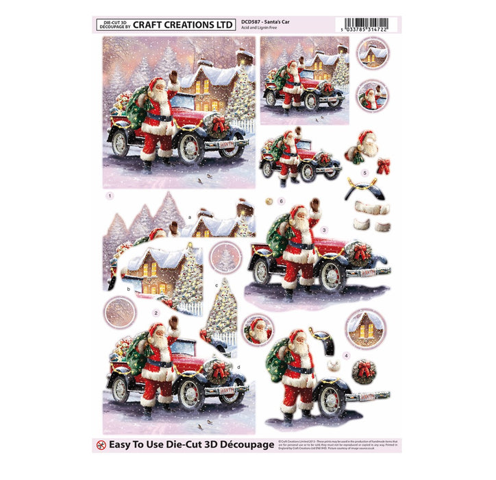 Die Cut Decoupage - Santa's Car (Pack of 3)