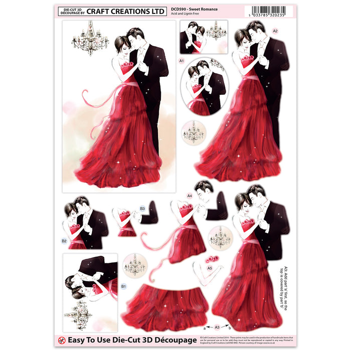 Die Cut Decoupage - Sweet Romance (Pack of 3)