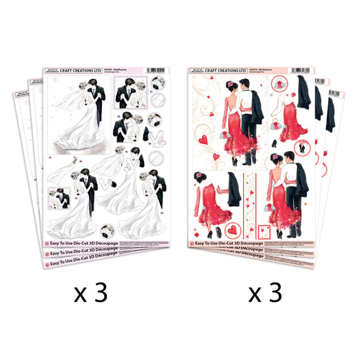Die Cut  Decoupage Wedding Day & Red Romance  (Pack of 6)