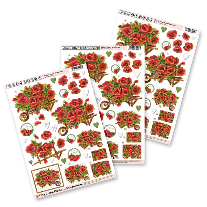 Die Cut Decoupage - Poppy Barrow (3 Pack)