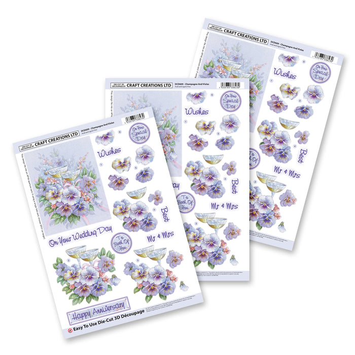 Die Cut Decoupage - Champagne and Violets (3 Pack)