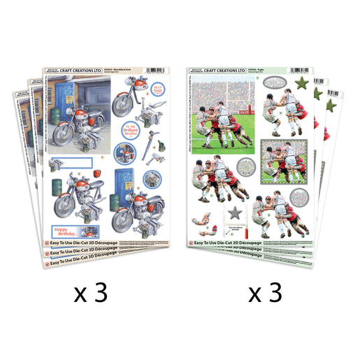 Die Cut  Decoupage Motorbike & Rugby (Pack of 6)