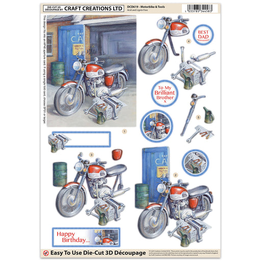 Die Cut Decoupage - Motorbike (Pack of 3)