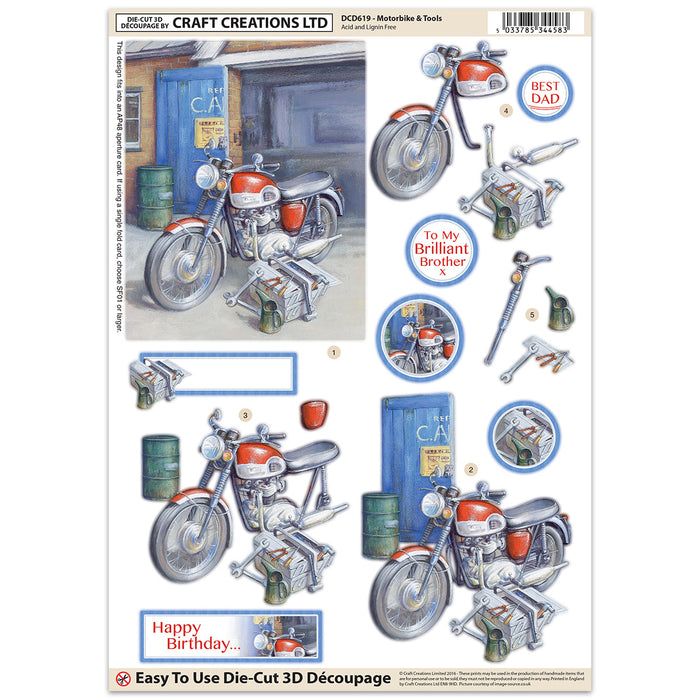 Die Cut Decoupage - Motorbike (Pack of 6)
