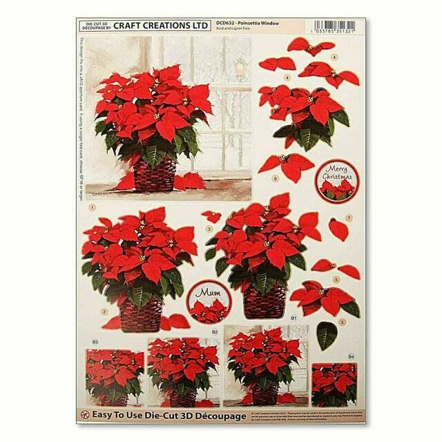 Die Cut Decoupage - Poinsettia Window (Pack of 3)