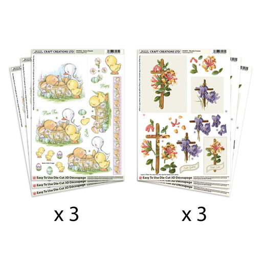 Die Cut  Decoupage Easter Friends & Crosses (Pack of 6)