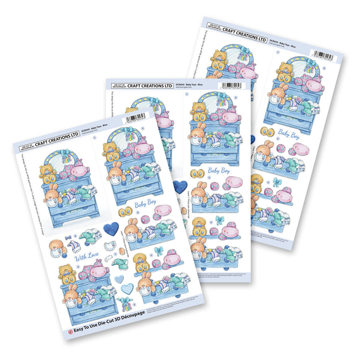 Die Cut Decoupage - Baby Boy 3pk