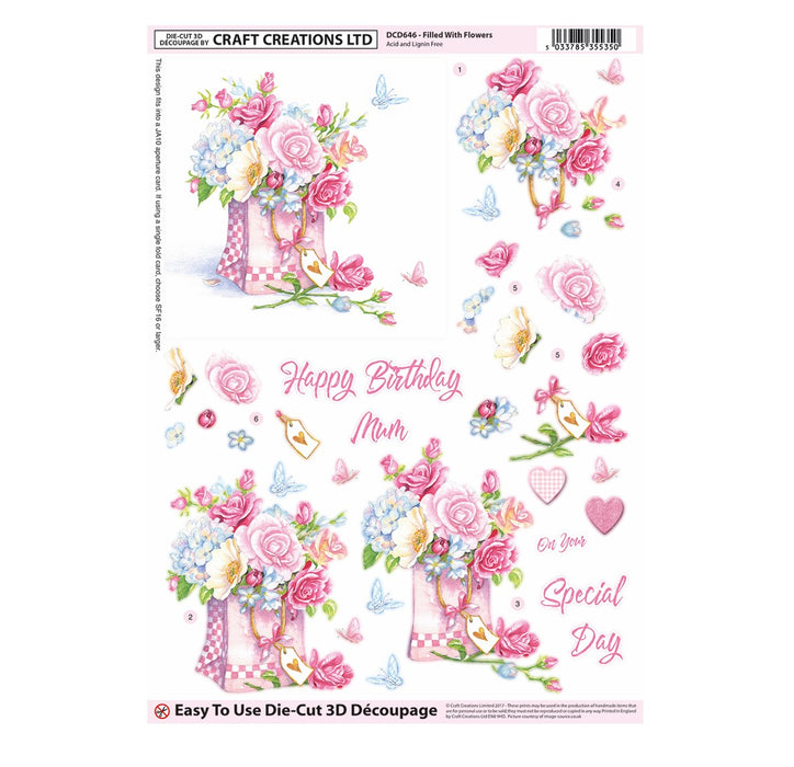 Die Cut Decoupage - Filled With Flowers (Pack of 3)