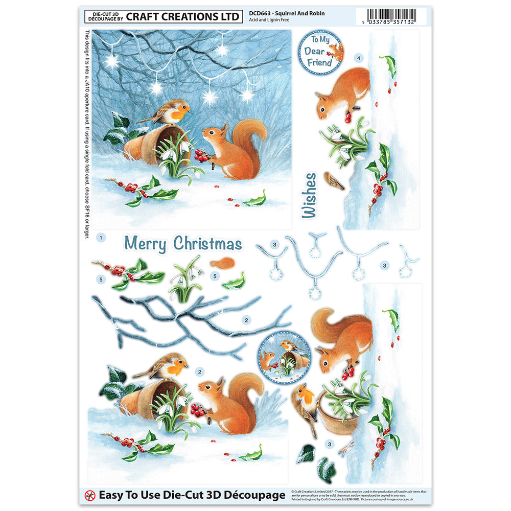 Die Cut Decoupage - Squirrel & Robin (Pack of 6)