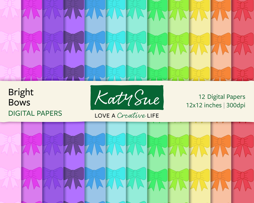 Bright Bows | 12x12 Digital Papers