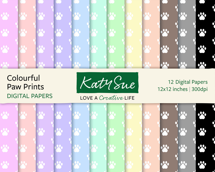 Colourful Paw Prints | 12x12 Digital Papers