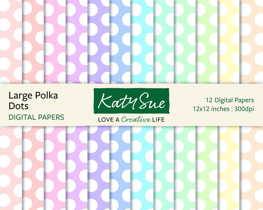 Pastel Large Polka Dots | 12x12 Digital Papers