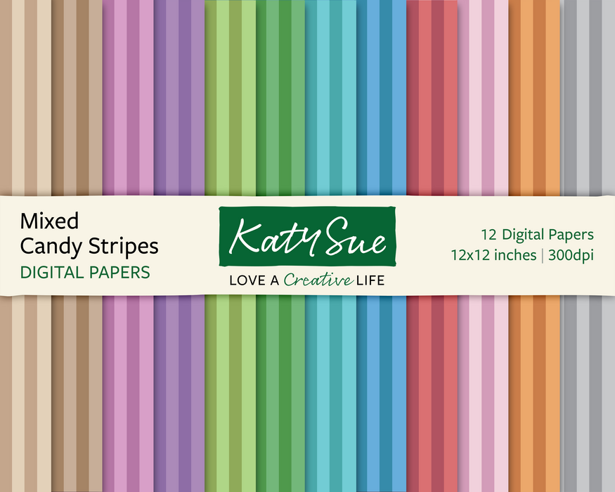 Mixed Candy Stripes | 12x12 Digital Papers