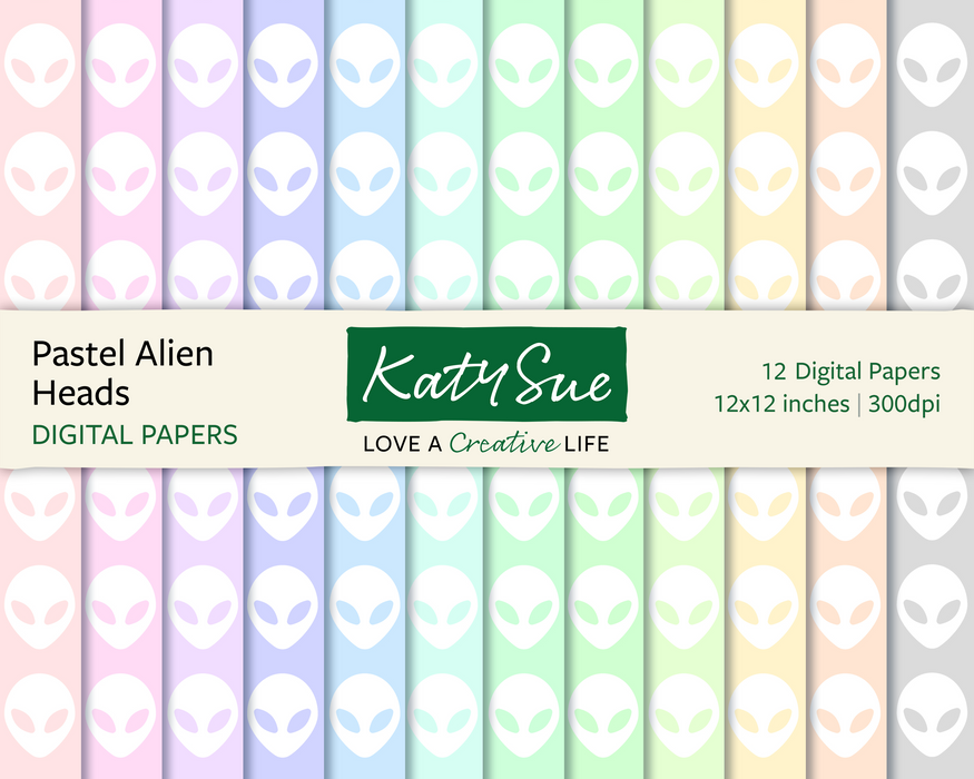 Pastel Alien Heads | 12x12 Digital Papers