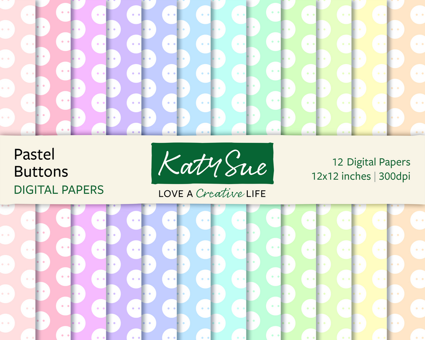 Pastel Buttons | 12x12 Digital Papers