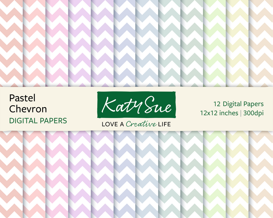 Pastel Chevron | 12x12 Digital Papers