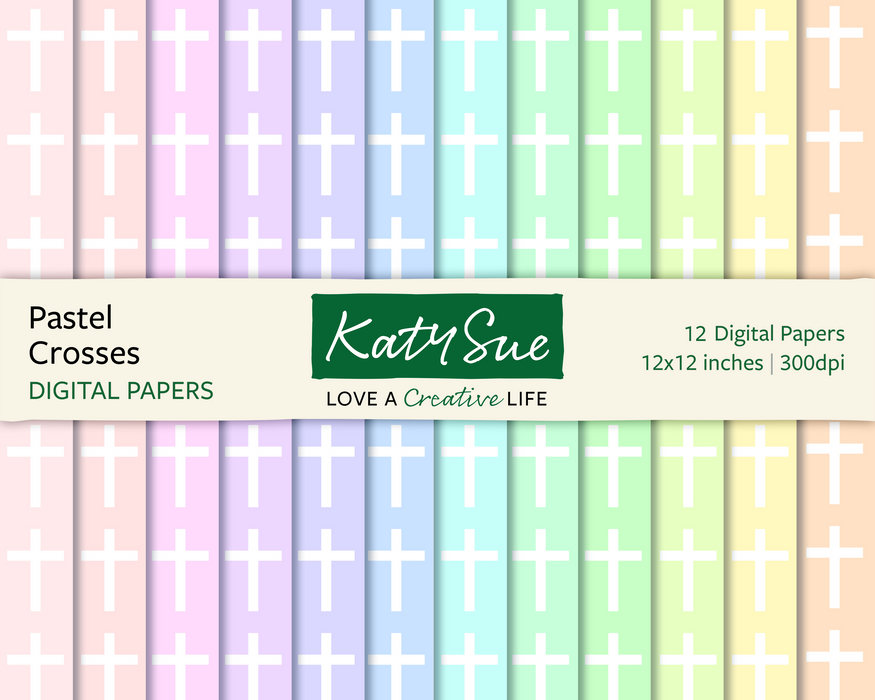 Pastel Crosses | 12x12 Digital Papers