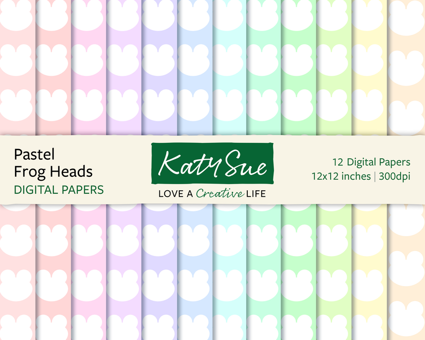 Pastel Frog Heads | 12x12 Digital Papers