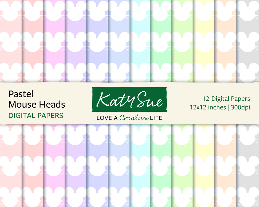 Pastel Mouse Heads | 12x12 Digital Papers