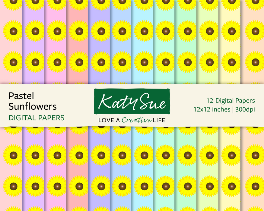 Pastel Sunflowers | 12x12 Digital Papers