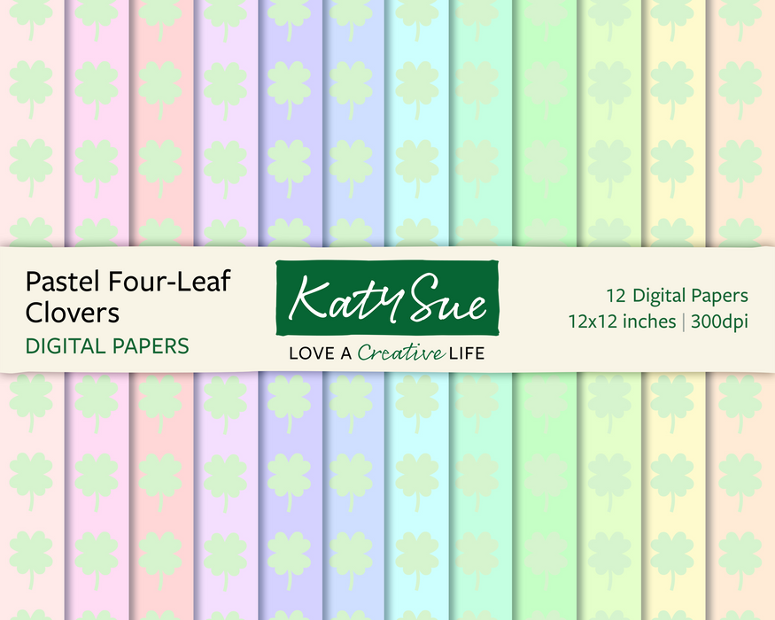 Pastel Four Leaf Clovers | 12x12 Digital Papers
