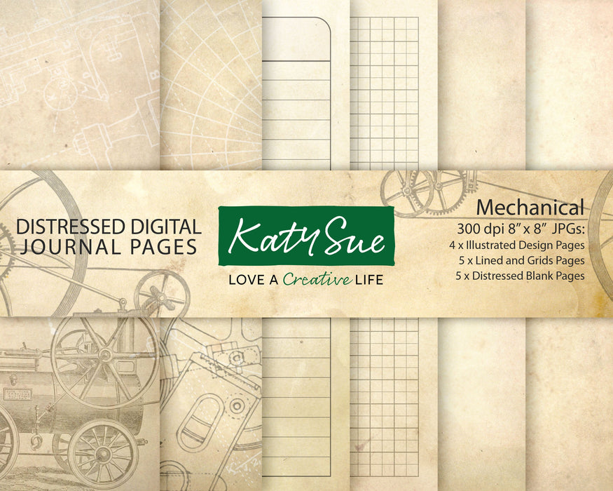 Distressed Mechanical | Digital Journal Pages