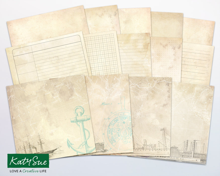 Distressed Nautical | Digital Journal Pages