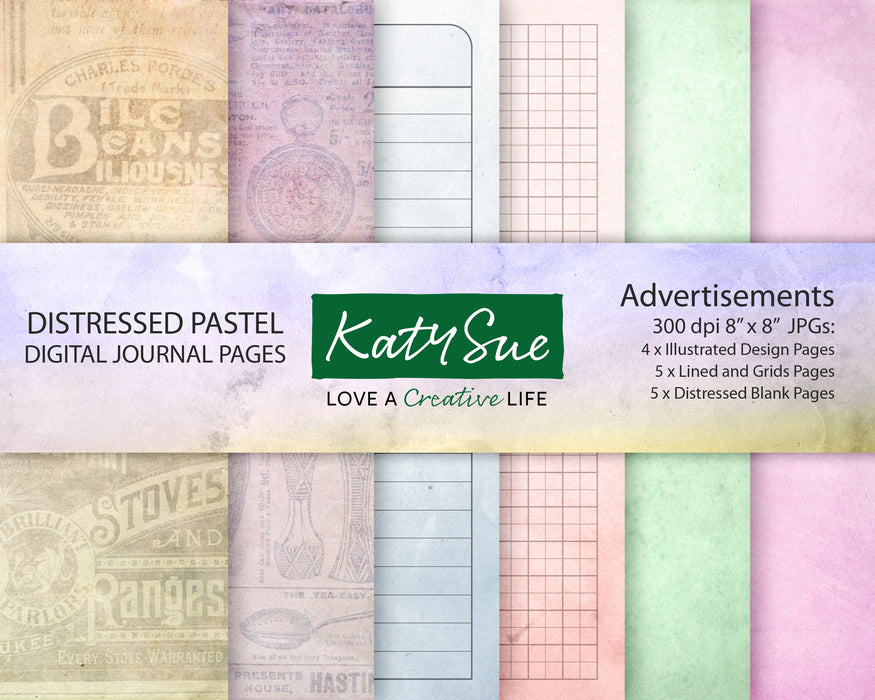 Distressed Pastel Advertisements | Digital Journal Pages