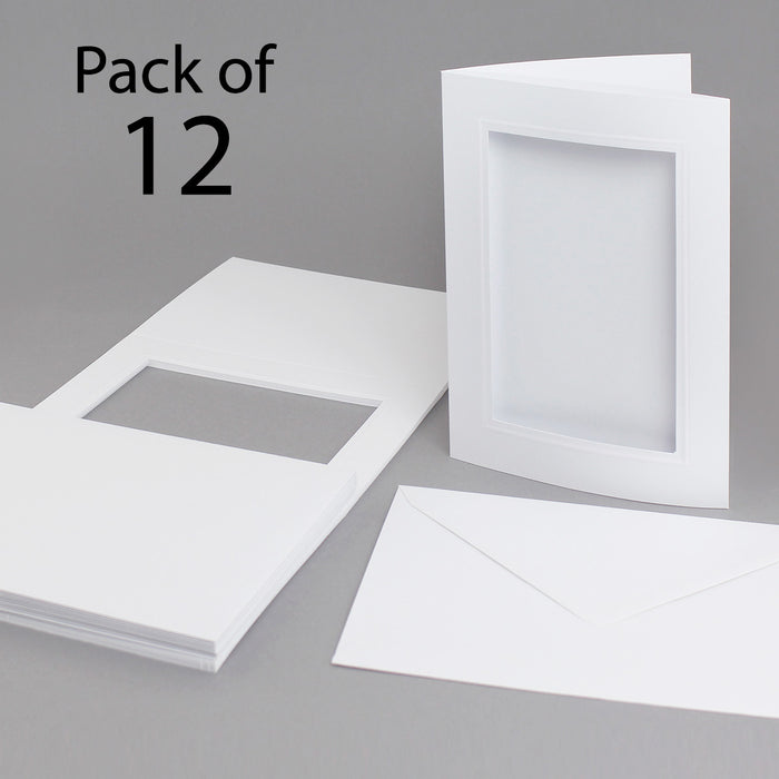 Classic White Embossed Aperture Cards & Envelopes 145 x 198mm (Pack of 12)