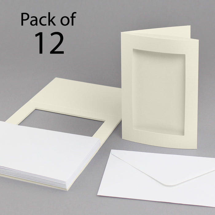Linen Ivory 150 x 203mm Aperture Cards & Envelopes (Pack of 12)