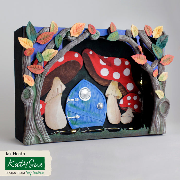 MDF Woodland Deep Diorama Box with Toadstool Embellishments