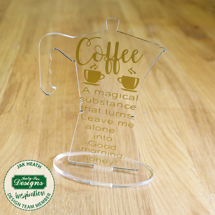 6 Freestanding Acrylic Shapes - Teapot, Coffee Pot and Wine Bottle