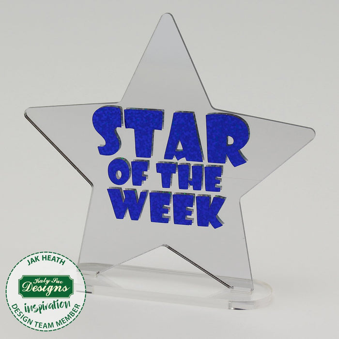 6 Freestanding Acrylic Shapes - Star, Apple and Trophy