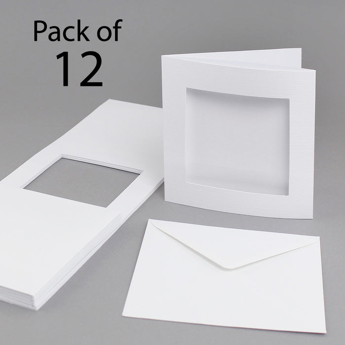 White Linen 144 x 144mm Square Aperture Cards & Envelopes (Pack of 12)