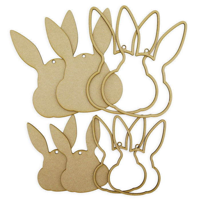 MDF Bunny Hoops and Plaques (Pack of 8)