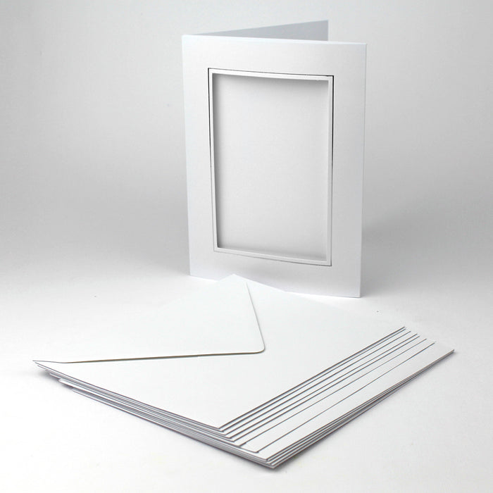 Classic White Aperture Card & Envelopes with Silver Foil Border 152mm x 104mm (Pack of 12)