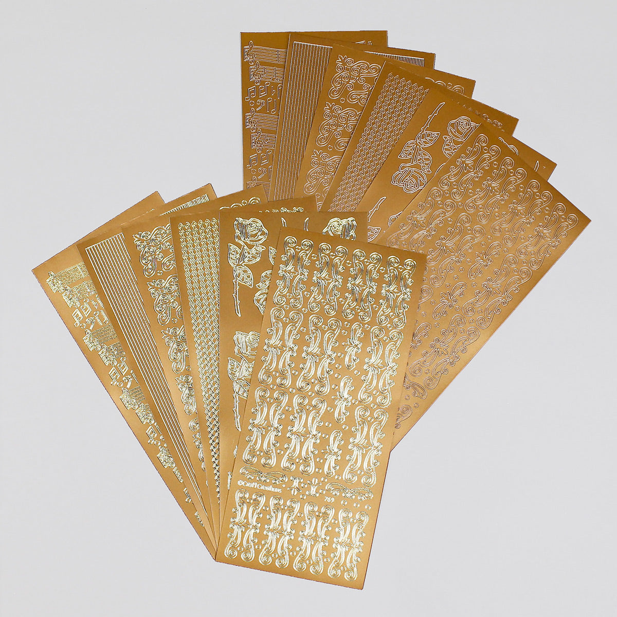 Gold Self Adhesive Flower Borders Peel Off Stickers Sheet Card Decoration Crafts