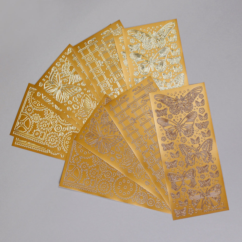 12 x Vintage Copper & Gold Stick and Stencil Sheets - Butterflies, Cogs & Trellis